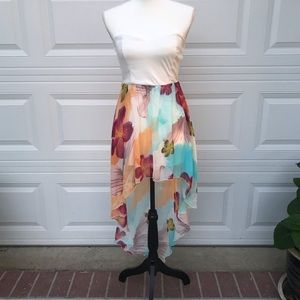 Strapless high-low tropical flower print dress